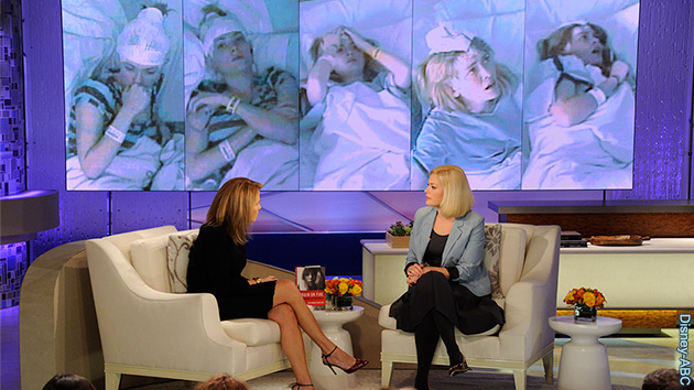 Susannah speaking about her experience on Katie Couric's chat show in the US, with images in the background of her hospital stay.