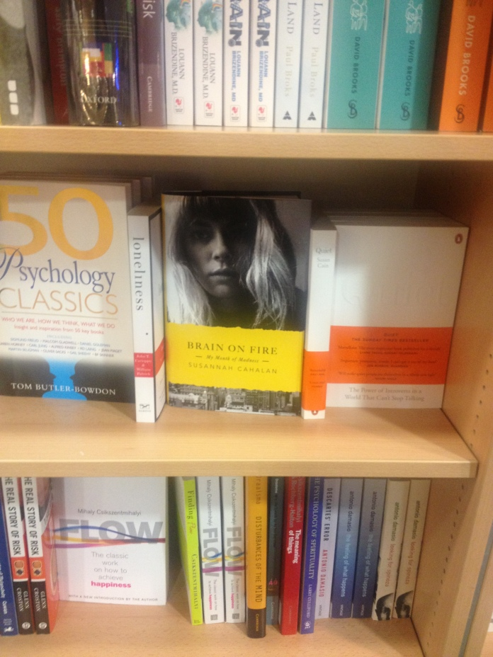 Brain on Fire on the shelves at Foyles, in the Psychology section