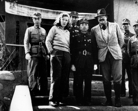 Gellhorn and Hemingway meeting officials, China, 1941. Image: wikipedia.org